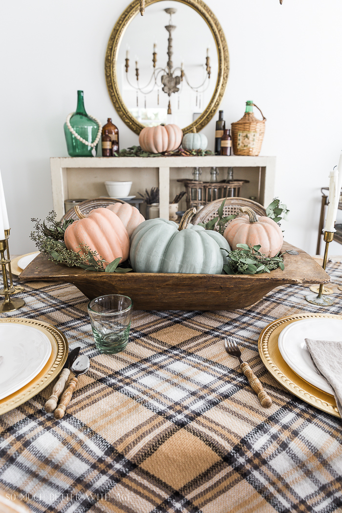 Vintage Thanksgiving Table/plaid tablecloth - So Much Better With Age