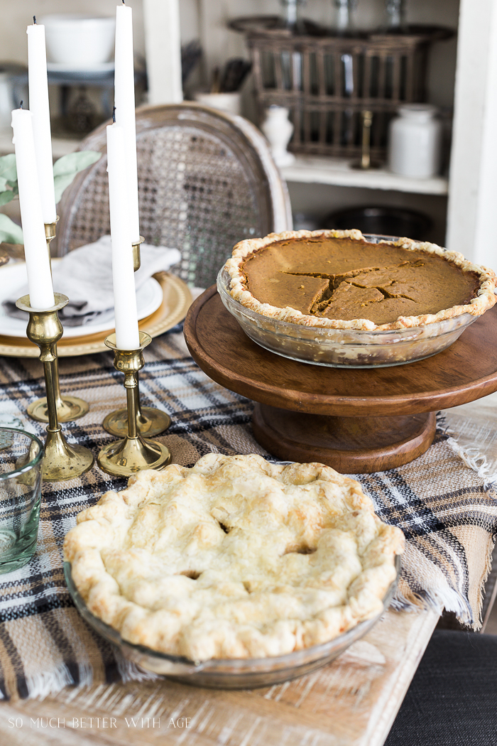 Vintage Thanksgiving Table/pies on table setting - So Much Better With Age