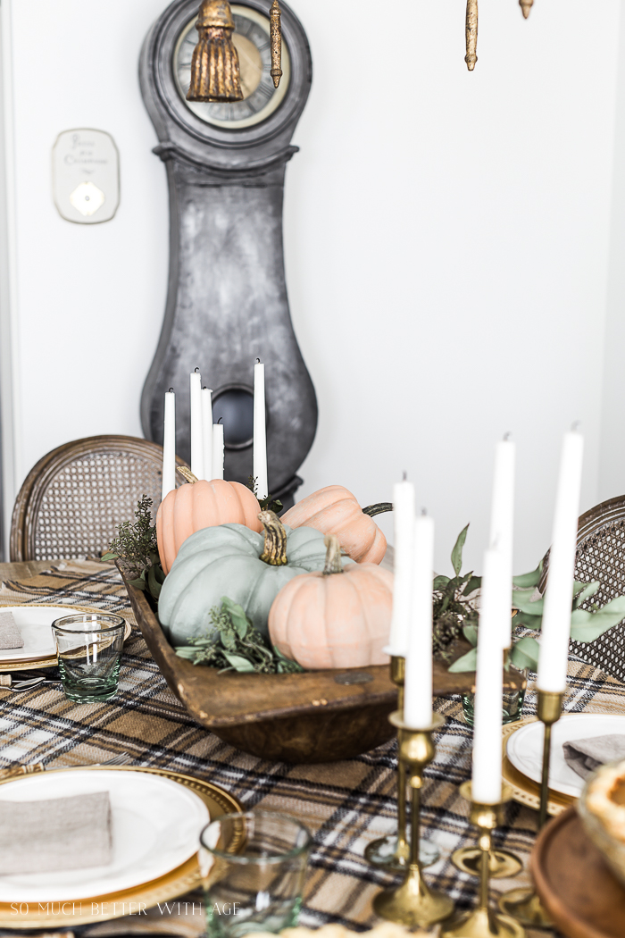 Vintage Thanksgiving Table/pastel pumpkins, mora clock - So Much Better With Age