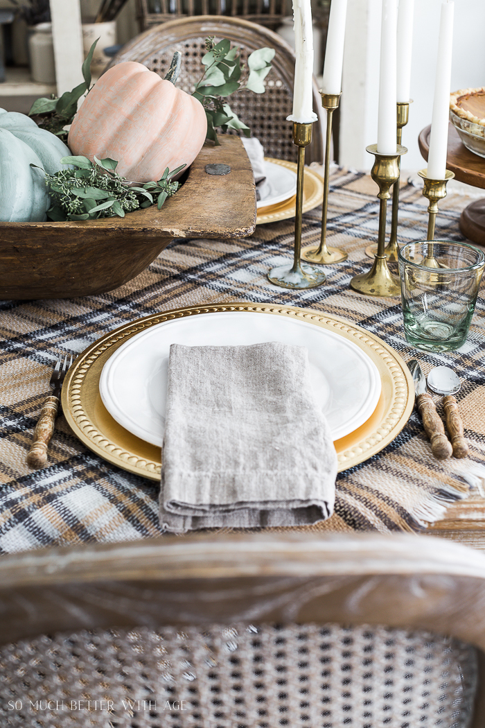 Vintage Thanksgiving Table/place setting with linen napkin - So Much Better With Age