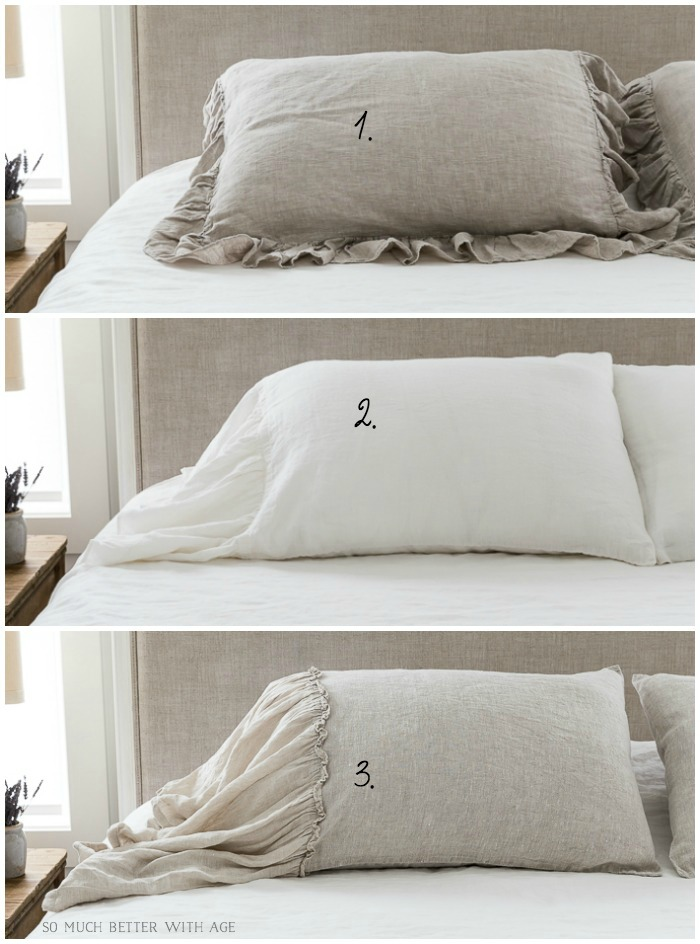 3 Ruffled Linen Pillow Shams - So Much Better With Age