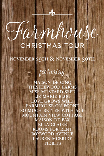 Farmhouse Christmas Tour graphic.