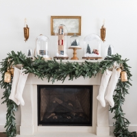 Christmas Mantel Decor with Snow Globe Cloches