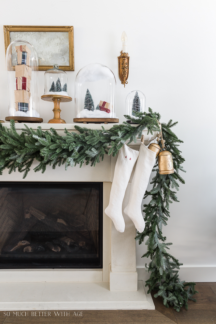 Christmas Mantel Decor with Snow Globe Cloches/brass bells, stockings - So Much Better With Ag