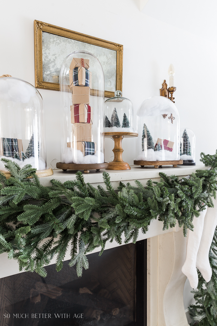30+ Unique Christmas Decorating Ideas/snow globes in cloches - So Much Better With Age