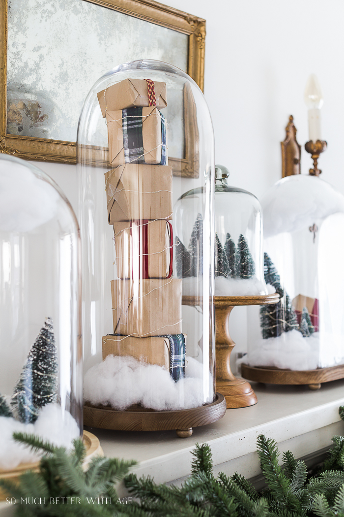 Christmas Mantel Decor with Snow Globe Cloches/mini gifts under glass - So Much Better With Ag