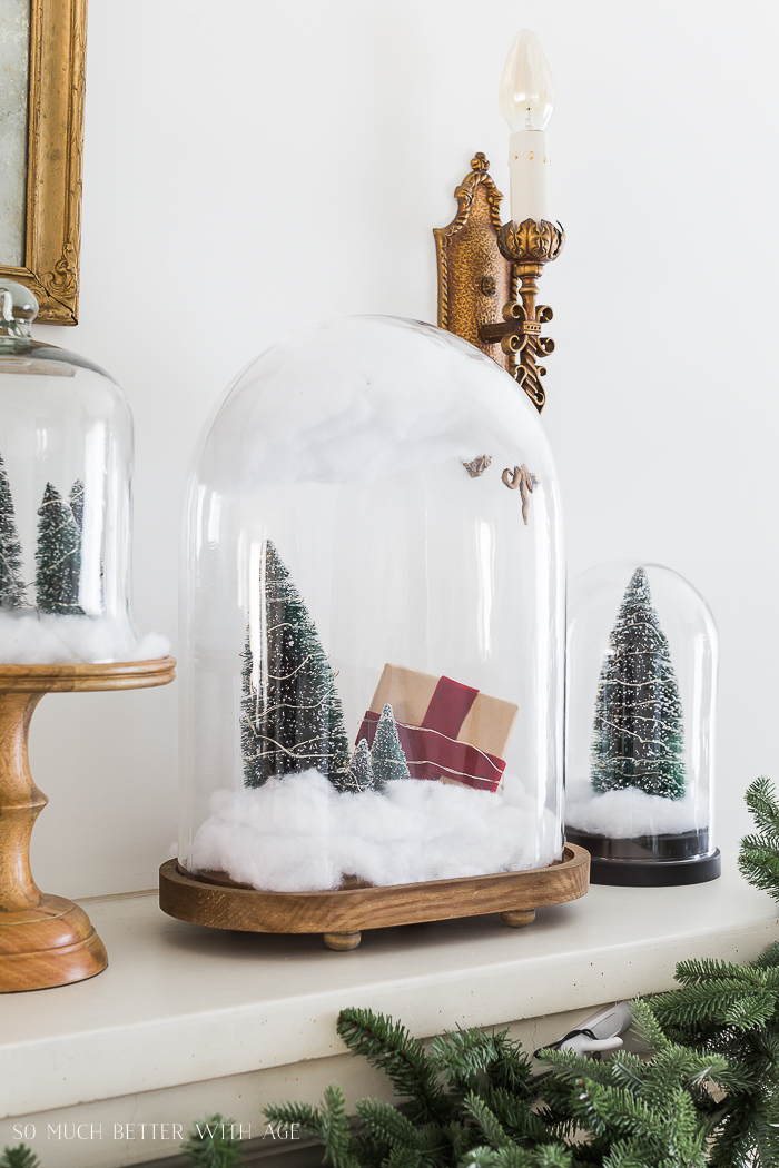 Christmas Mantel Decor with Snow Globe Cloches/bottle brush trees under glass - So Much Better With Ag