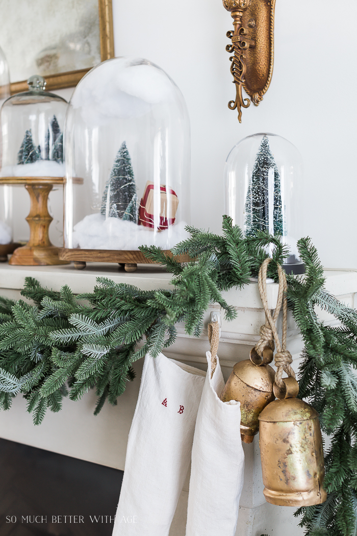 Christmas Mantel Decor with Snow Globe Cloches/Christmas trees in glass domes - So Much Better With Ag