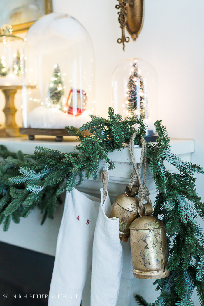 Christmas Mantel Decor with Snow Globe Cloches/brass bells, Christmas lights- So Much Better With Ag