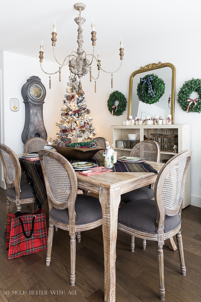 Christmas Plaid Table Setting in the dining room.