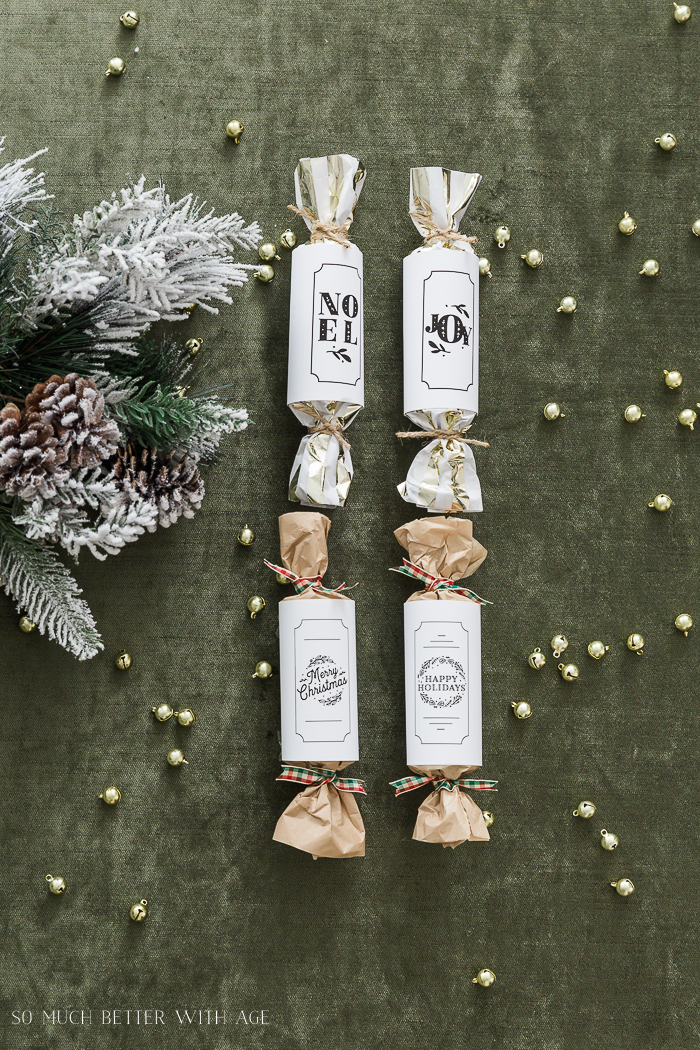 DIY Christmas Crackers/green velvet backdrop - So Much Better With Age