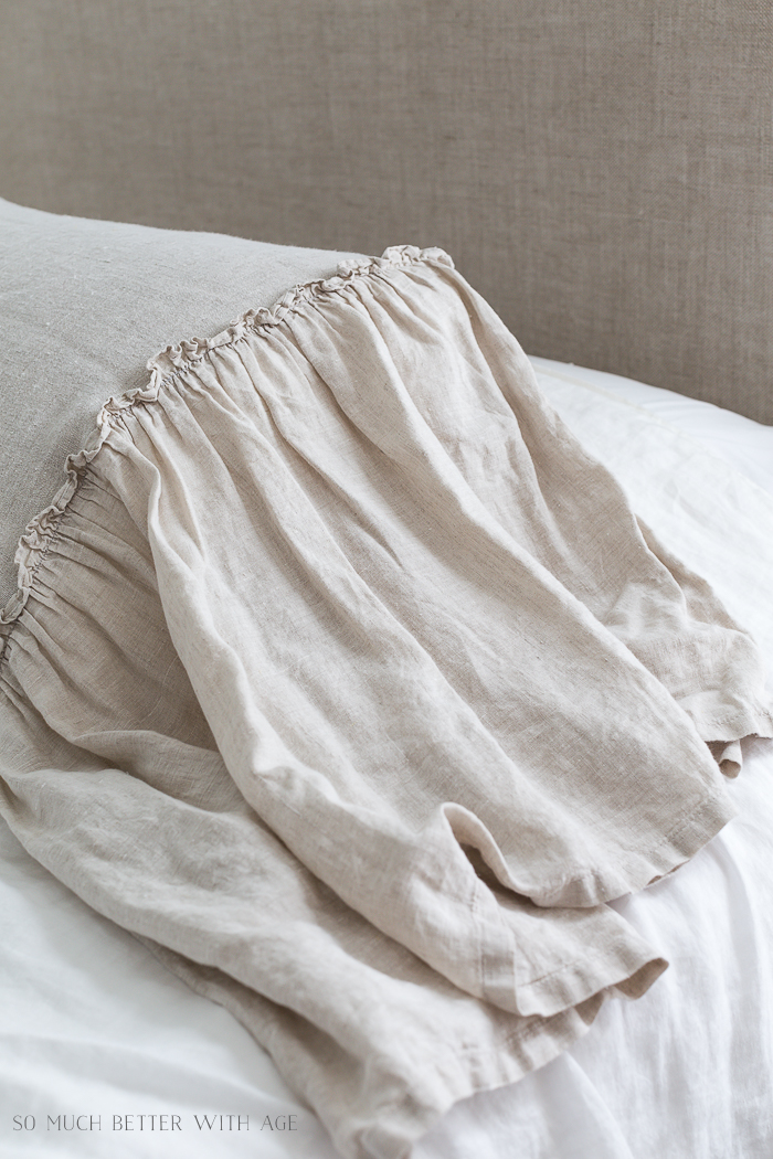 Review of 3 Linen Pillow Shams for the Master Bedroom/flax linen ruffles - So Much Better With Age