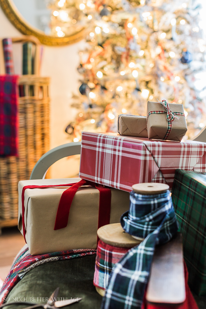 Plaid Christmas Decor/plaid gifts and Christmas tree lights - So Much Better With Age