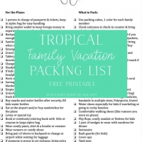 Tropical Family Vacation Packing List (Free Printable)