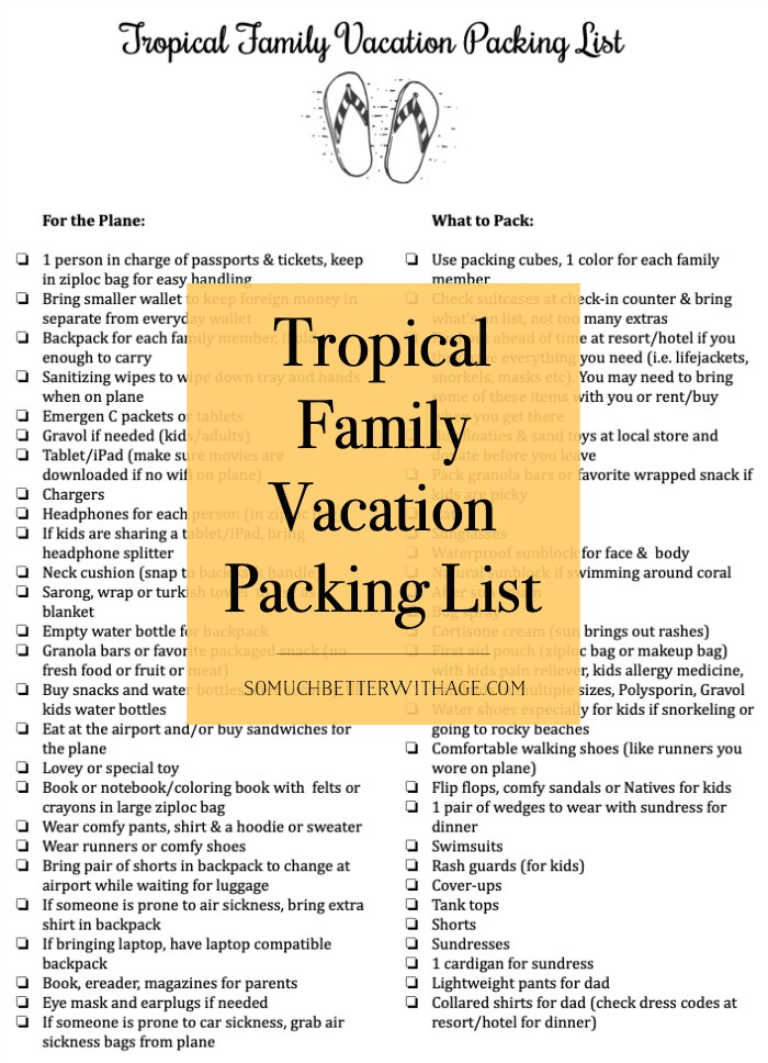 Tropical Family Vacation Packing List Free Printable So Much Better With Age