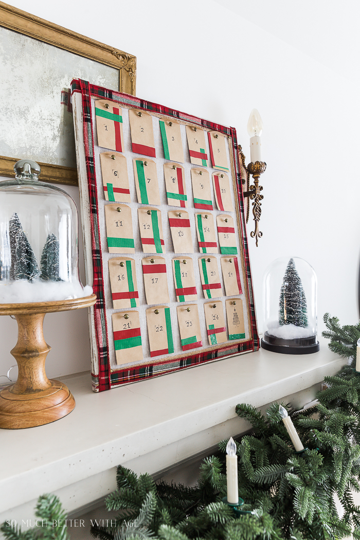 Creative Christmas Advent Calendar/Christmas mantel - So Much Better With Age