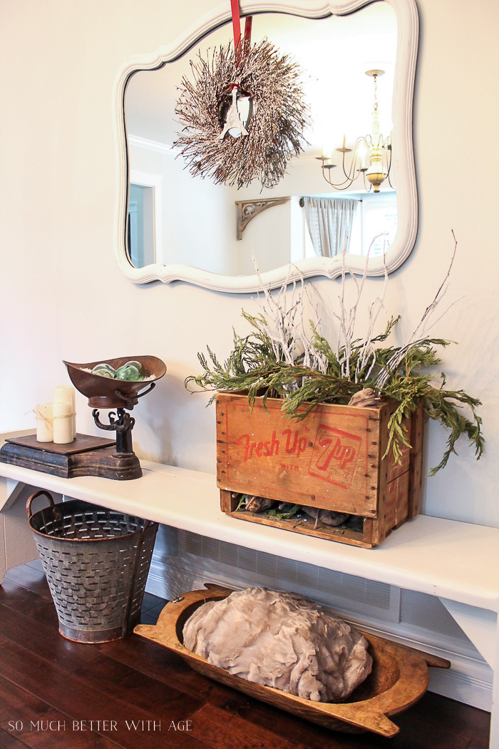 30+ Unique Christmas Decorating Ideas/evergreen in old crate- So Much Better With Age