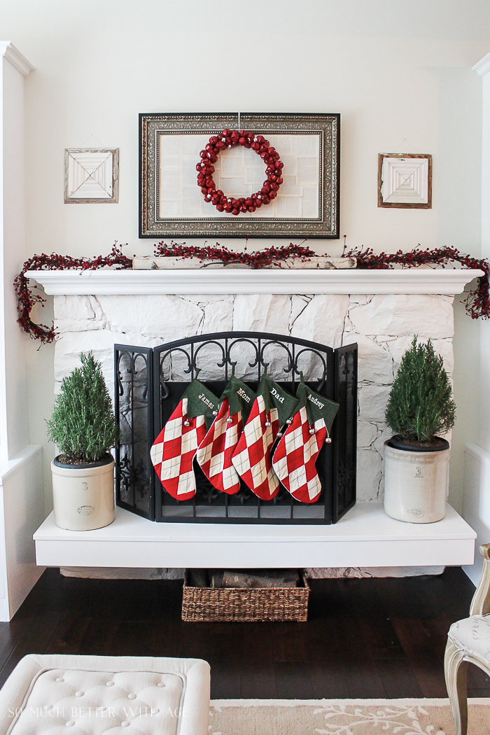 30+ Unique Christmas Decorating Ideas/fireplace screen and stockings- So Much Better With Age