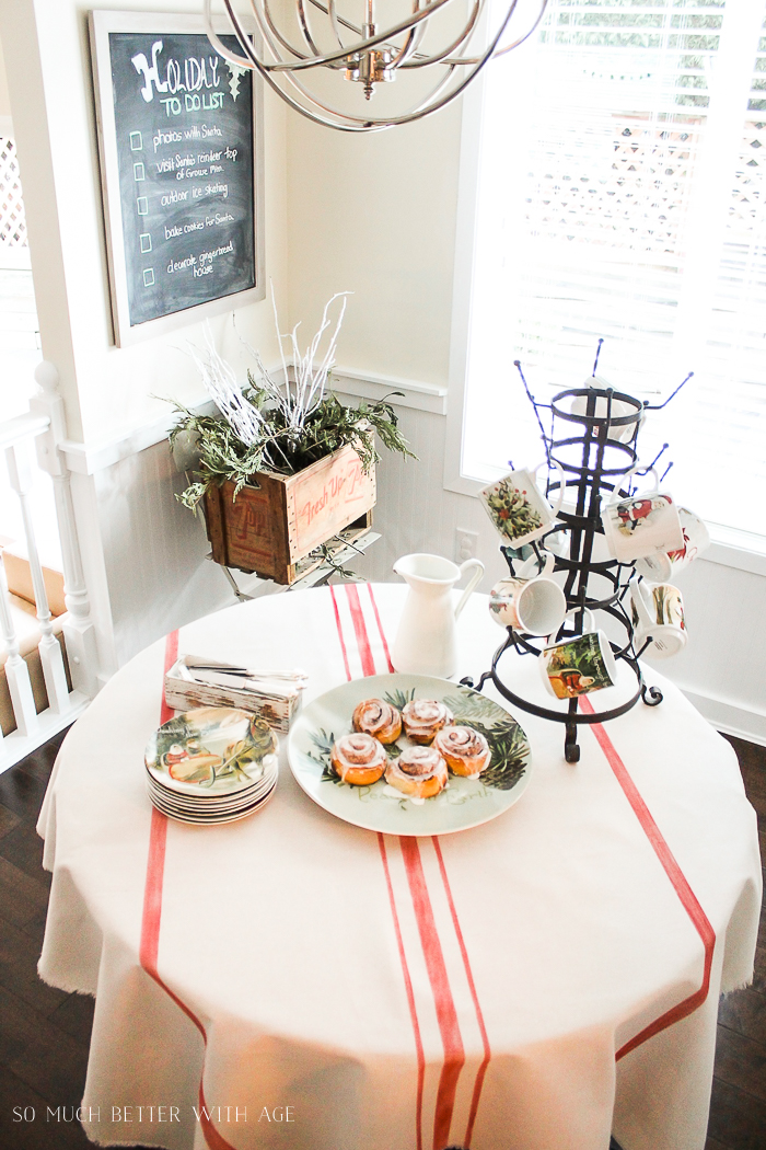 Beautiful Christmas Table Setting Ideas/ticking stripe tablecloth - So Much Better With Age