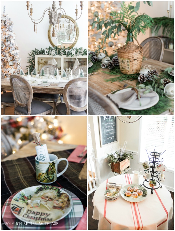 Beautiful Christmas Table Setting Ideas with greenery, flocked Christmas tree and holiday plates.