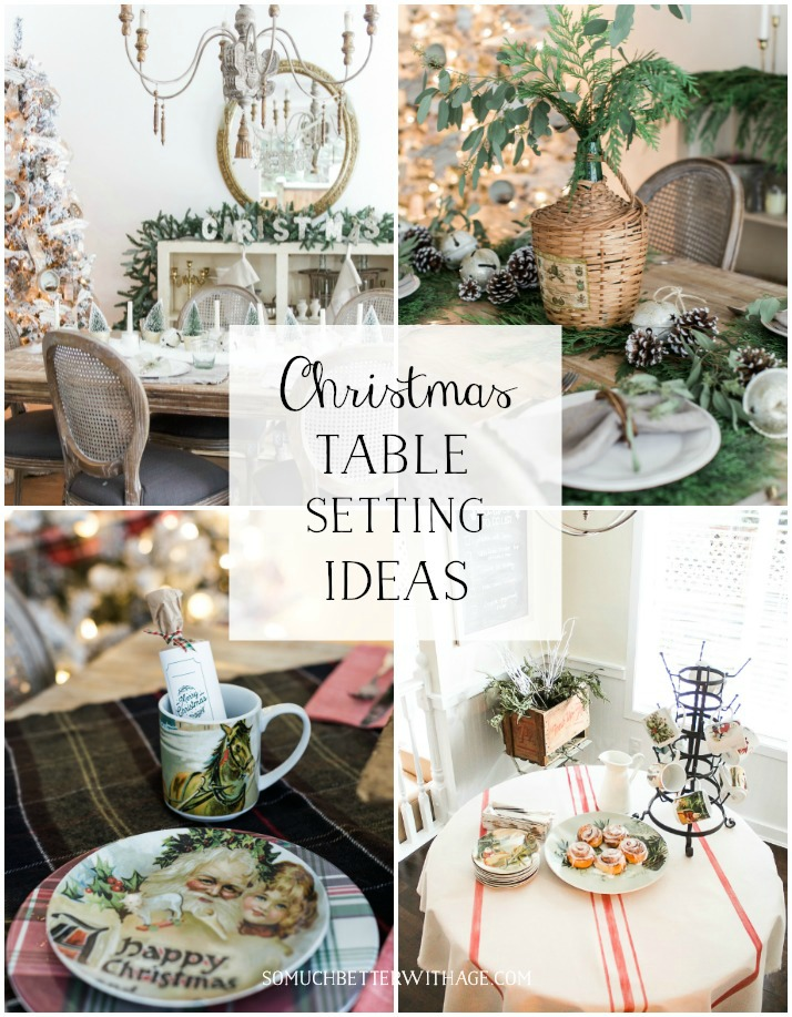 Beautiful Christmas Table Setting Ideas graphic poster.