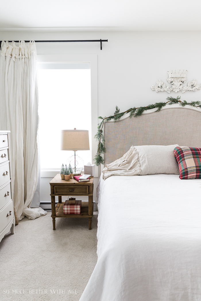 Simple Christmas Bedroom Decor/garland over bed - So Much Better With Age