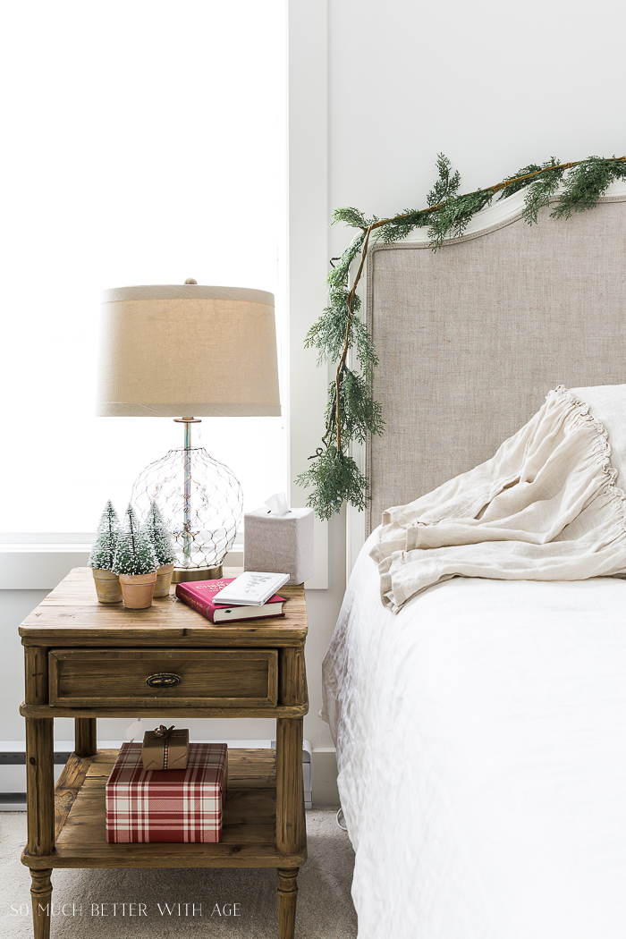 Simple Christmas Bedroom Decor/bottle brush trees by bed - So Much Better With Age