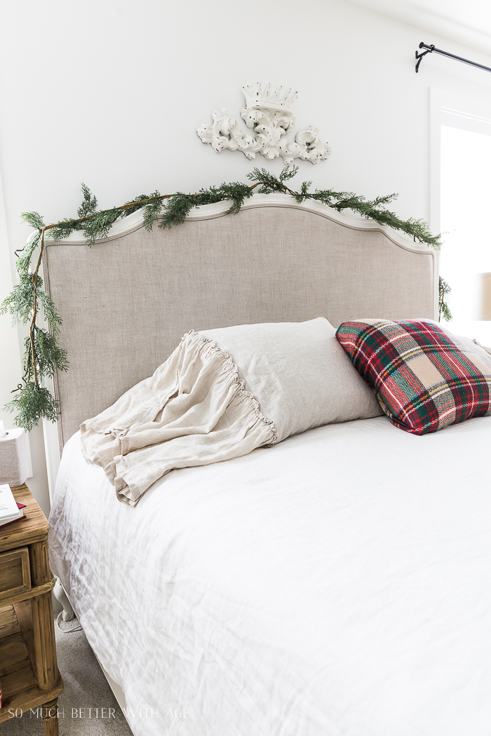Simple Christmas Bedroom Decor/plaid pillow on bed - So Much Better With Age