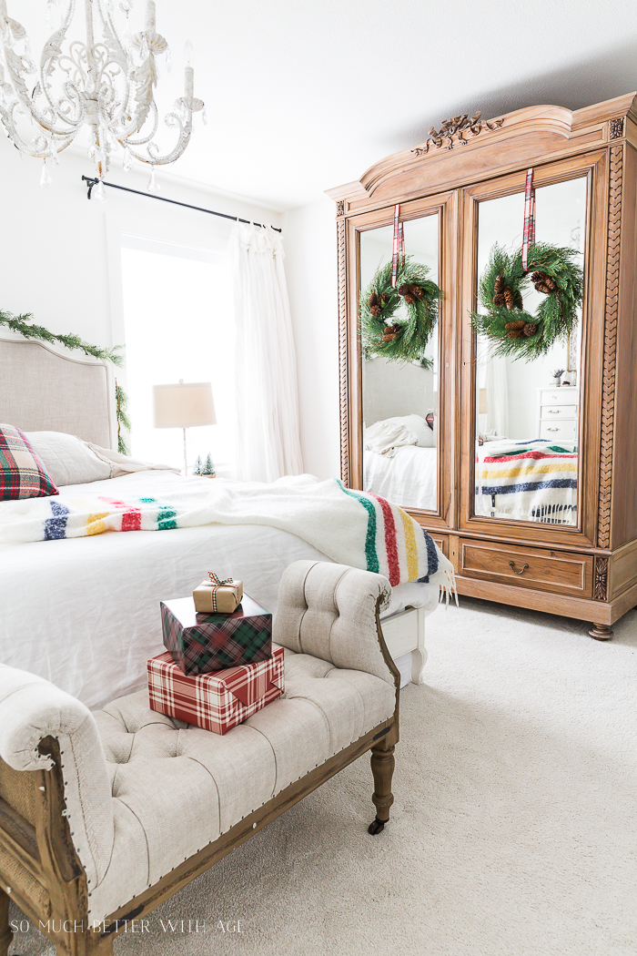 Simple Christmas Bedroom Decor/antique armoire - So Much Better With Age