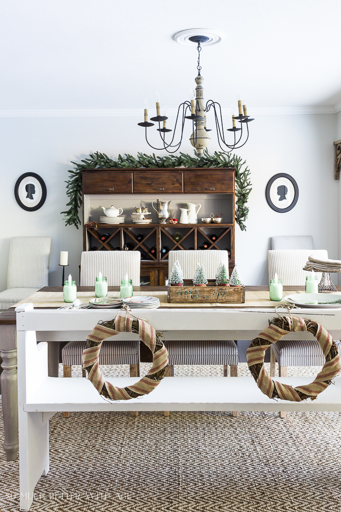 Beautiful Christmas Table Setting Ideas/wreaths on back of bench - So Much Better With Age
