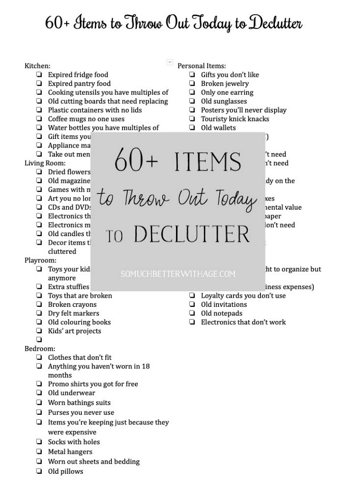 60 Items to Throw Out Today to Declutter/recycle- So Much Better With Age