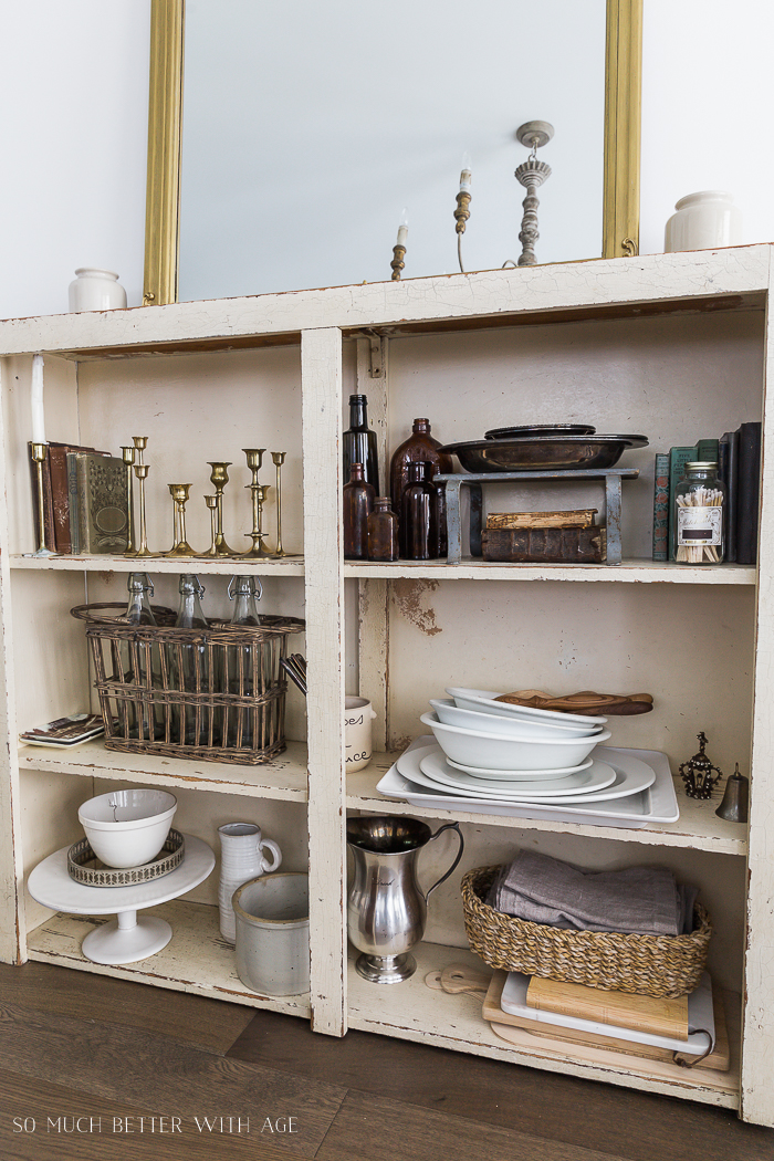 Becoming a Minimalist But Keeping Some Collections/shelf with antique home decor items - So Much Better With Age