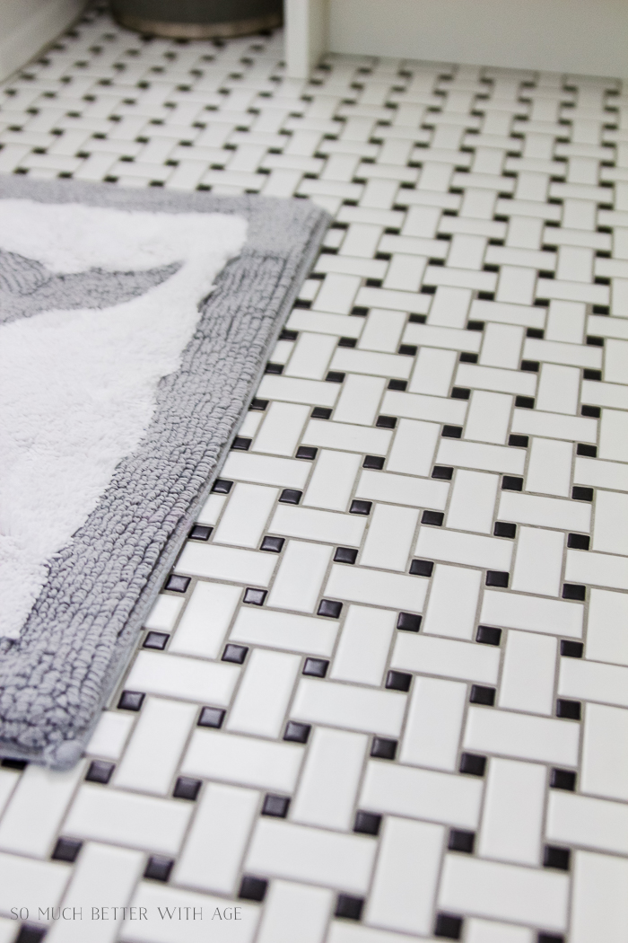 10 Design Tips for Kids Bathroom/dark grout basketweave tile - So Much Better With Age