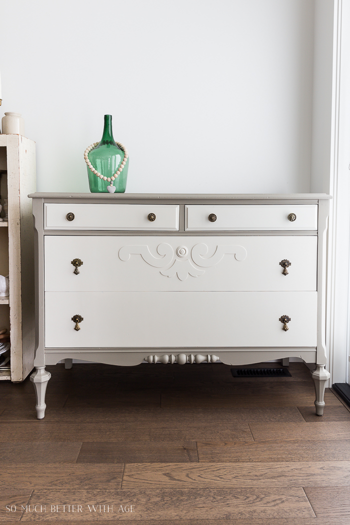 How to Prep Furniture for Painting/green bottle on dresser - So Much Better With Age
