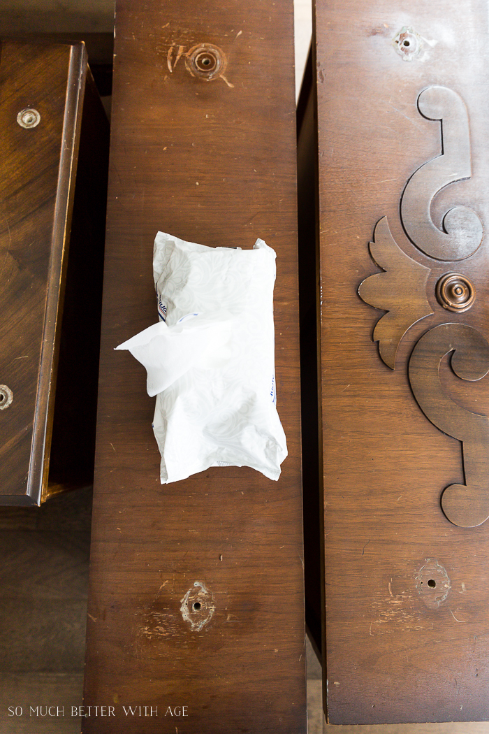 How to Prep Furniture for Painting/wipe down dresser after sanding - So Much Better With Age