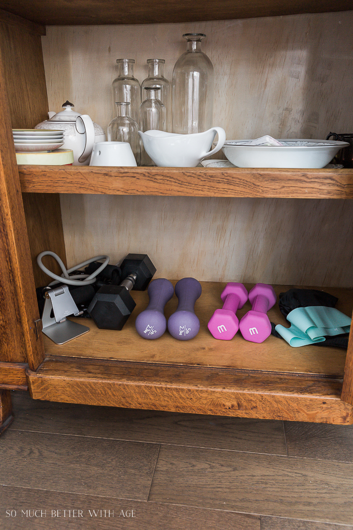 Easy Workouts at Home & Free Printable/weight in china cabinet - So Much Better With Age