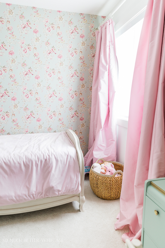 How to Hang Wallpaper on One Wall/pink and green girl's bedroom - So Much Better With Age