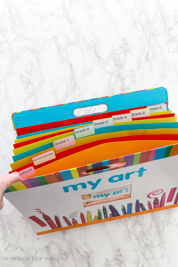 Organize Kids' Artwork/art folder by grade - So Much Better With Age
