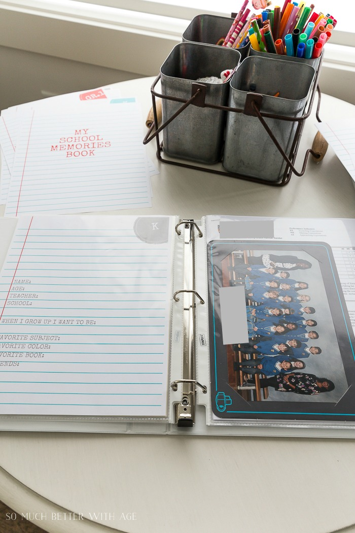 My School Memories Book - Free Printables K to Grade 12/ add class photo to binder - So Much Better With Age