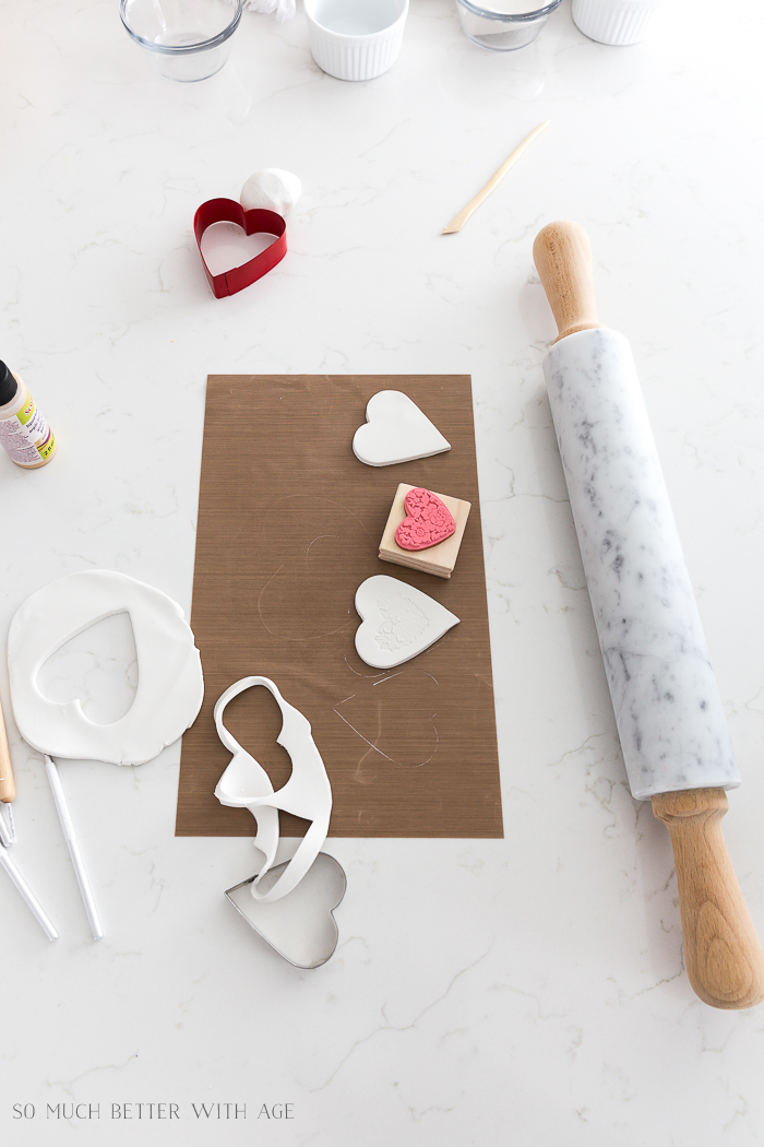 Clay Heart Dish for Valentine's Day/decorate clay hearts with stamps - So Much Better With Age