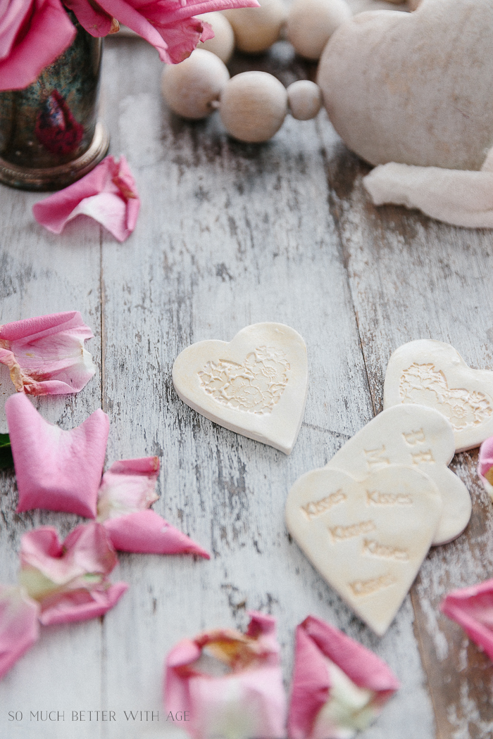 Clay Heart Dish for Valentine's Day/clay hearts with embossed design - So Much Better With Age