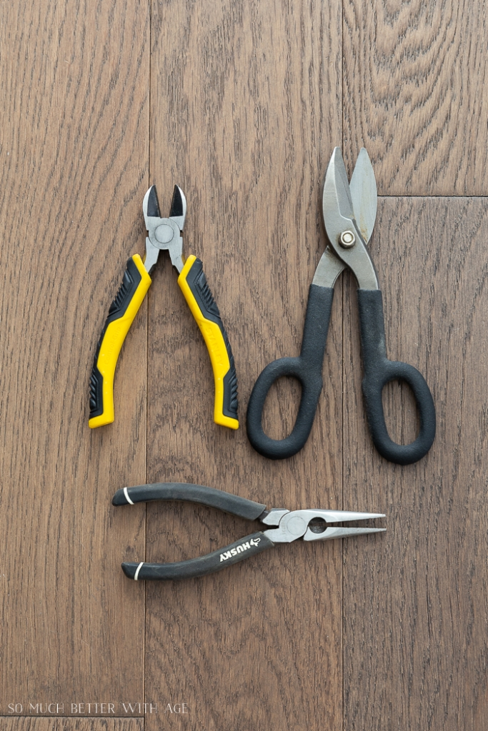 Three different types of pliers.
