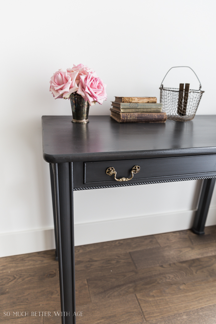 How to Use Dark Wax on Furniture / charcoal desk with pink flowers - So Much Better With Age