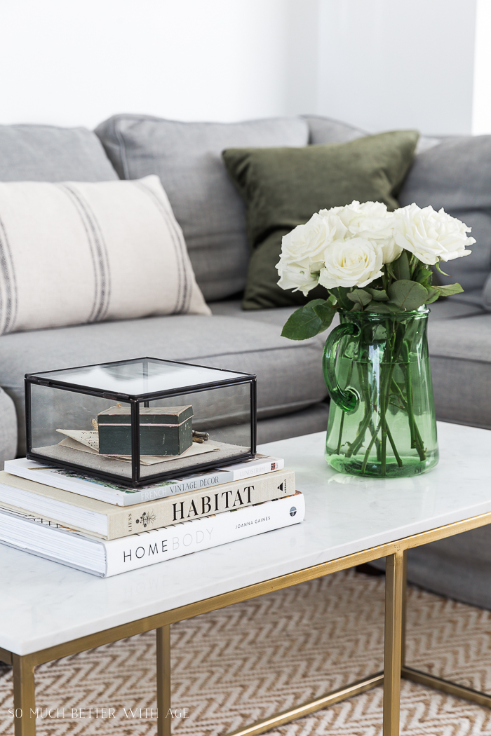 Change Your Decorative Pillows Seasonally & Pillow Cover Tutorial/gold marble coffee table - So Much Better With Age