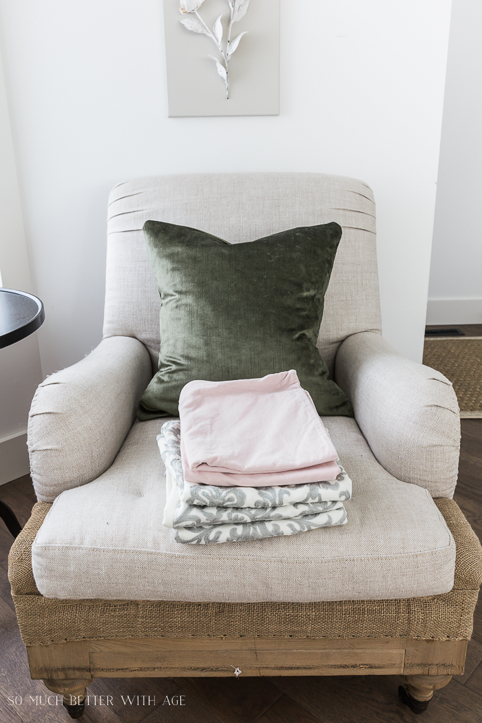 Change Your Decorative Pillows Seasonally & Pillow Cover Tutorial/stack of pillow covers - So Much Better With Age