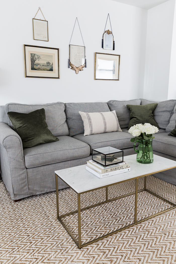 Honest Review of Pottery Barn's Slipcovers in Premium Performance/gold and marble coffee table - So Much Better With Age