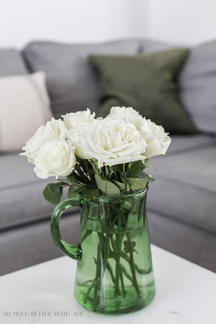 Change Your Decorative Pillows Seasonally & Pillow Cover Tutorial/white roses, green vase - So Much Better With Age