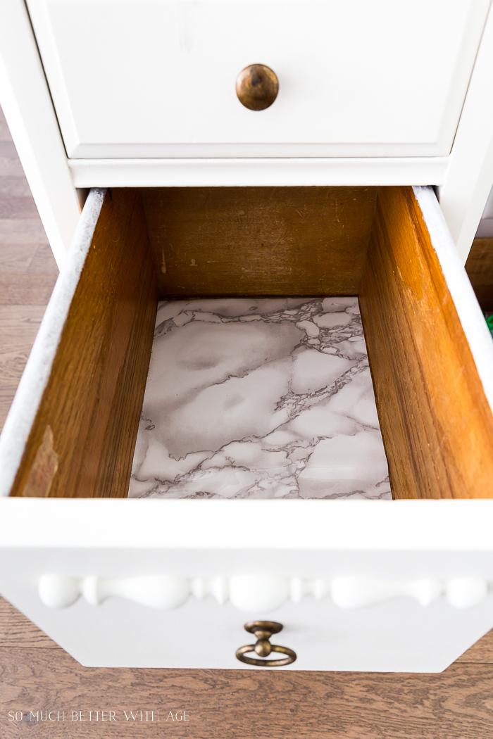 How to Paint Furniture for a Professional Look/contact paper inside drawers - So Much Better With Age
