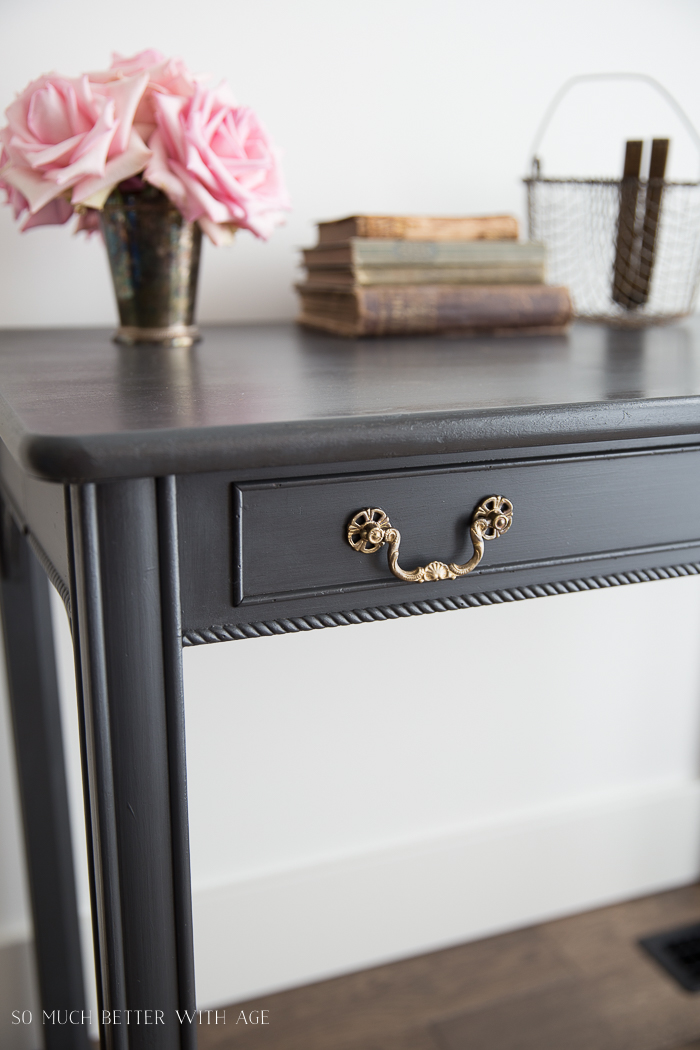 How to Use Dark Wax on Furniture / grey desk, brass hardware - So Much Better With Age