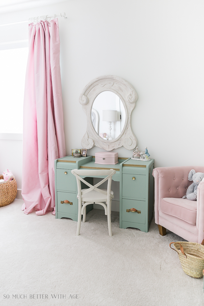Sweet Details of My Little Girl's French Bedroom/green vanity, pink curtains - So Much Better With Age
